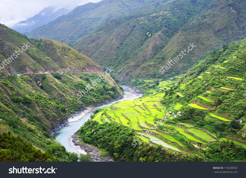 Rice Terrace Cordillera Mountains Luzon Philippines Stock Photo.