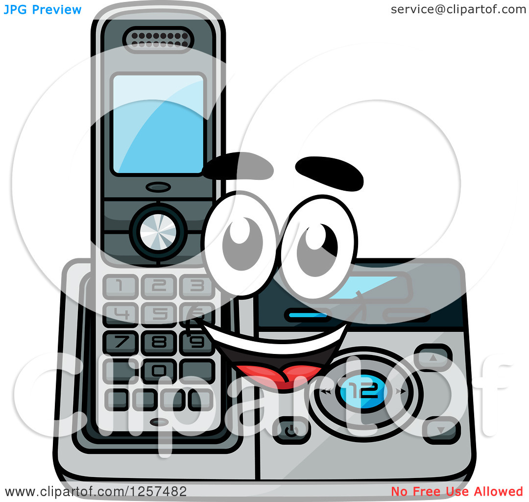 Clipart of a Happy Cordless Telephone Character.