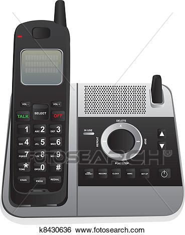 Cordless phone Clip Art.