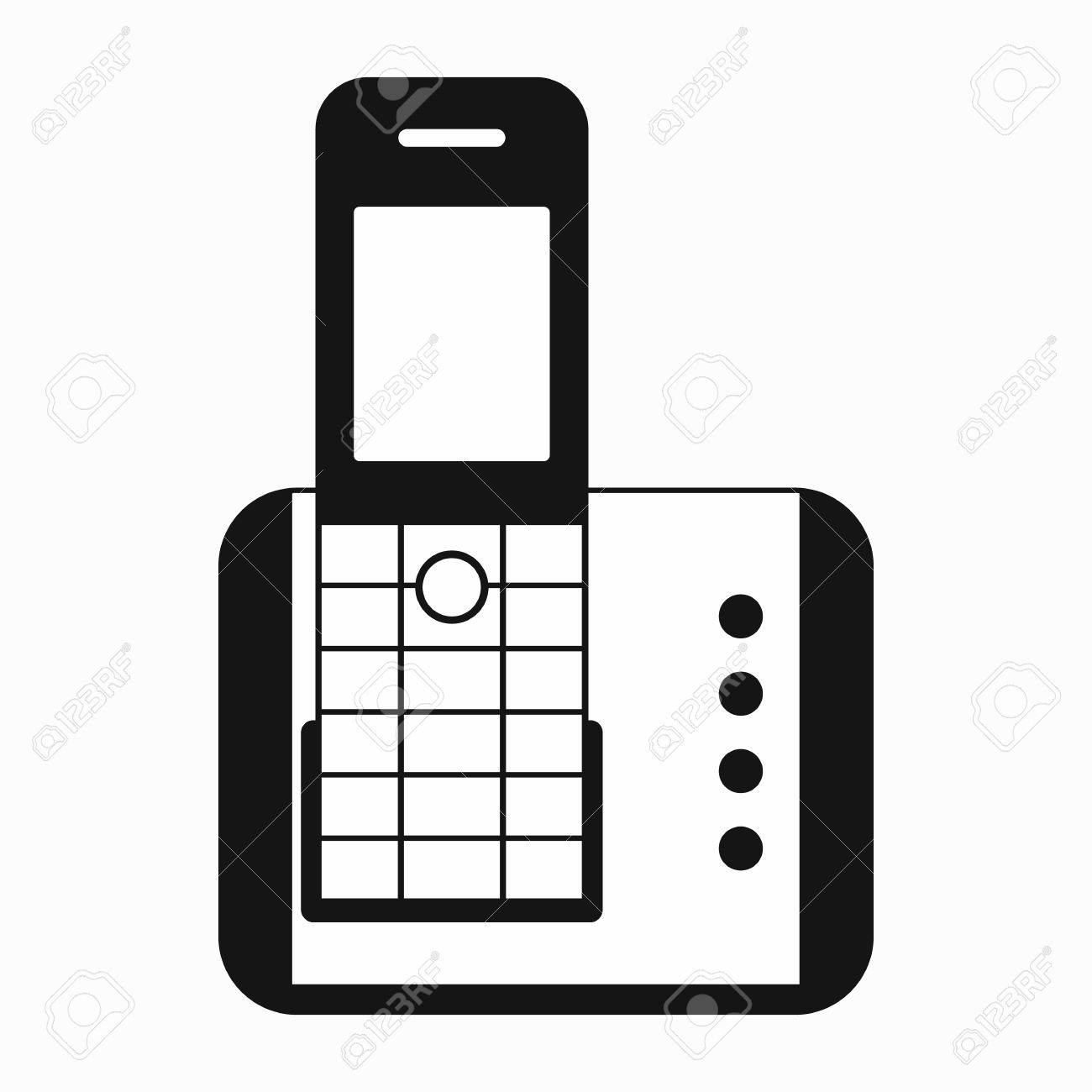 Cordless phone icon in simple style on a white background.