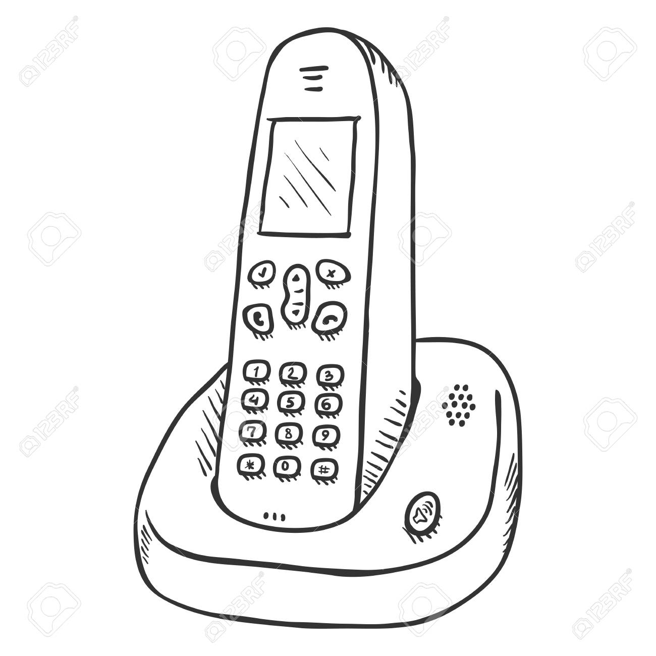 Vector Sketch Cordless Phone. Wireless Home Telephone..