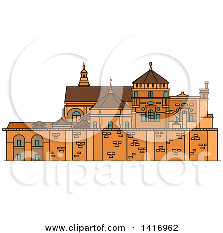 Clipart of a Sketched Spanish Landmark, Great Cathedral of Cordoba.