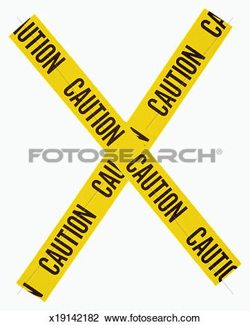 Stock Photo of x made of yellow caution tape used to cordon off.