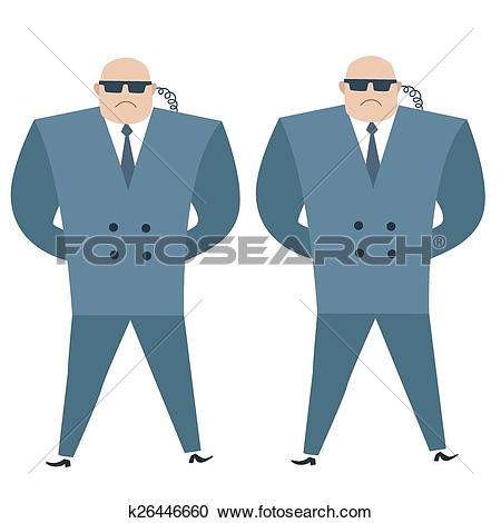 Clipart of Formidable security professionals secret service.