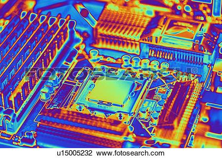 Stock Photo of Computer motherboard with core i7 CPU u15005232.