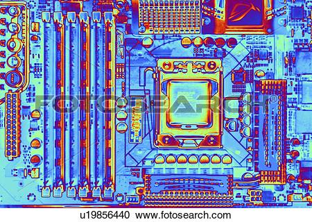 Stock Photography of Computer motherboard with core i7 CPU.