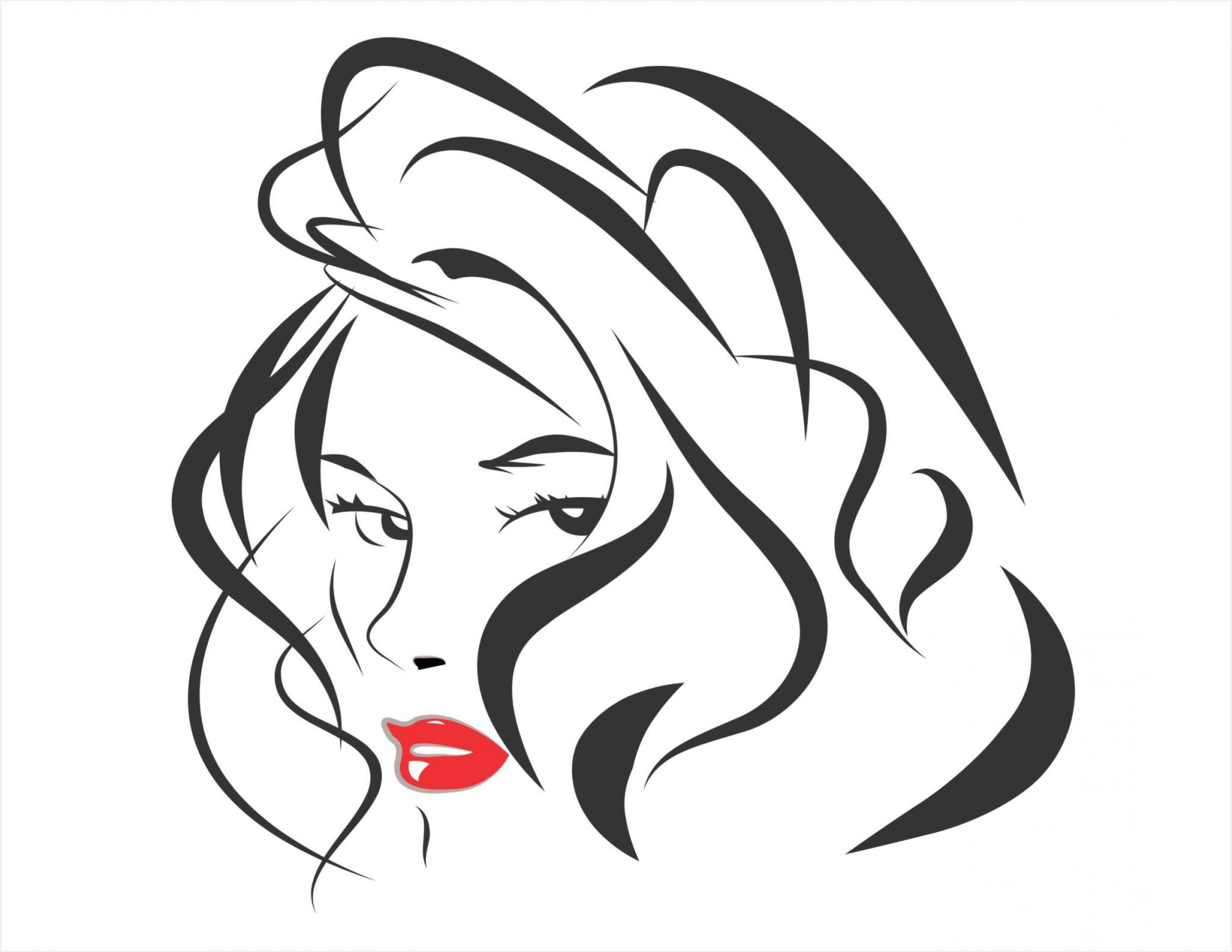 Vector Line Art Beautiful Woman Cdr File Created Coreldraw X.