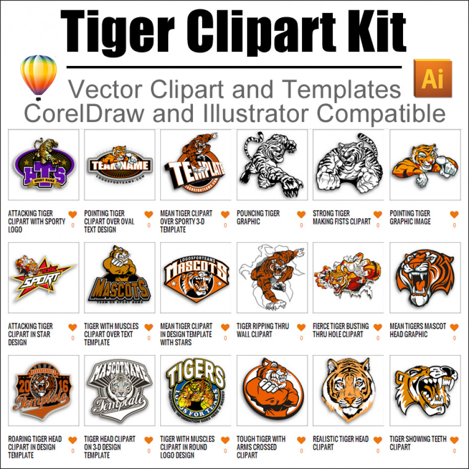 Tiger Clipart Kit 01 for CorelDraw and Illustrator.