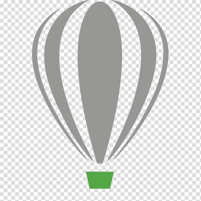 Gray and green hot air balloon art, CorelDRAW Computer Software Logo.