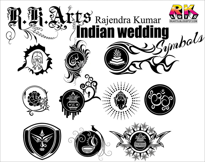 Indian Traditional Wedding Symbols with Decorative ornaments free.