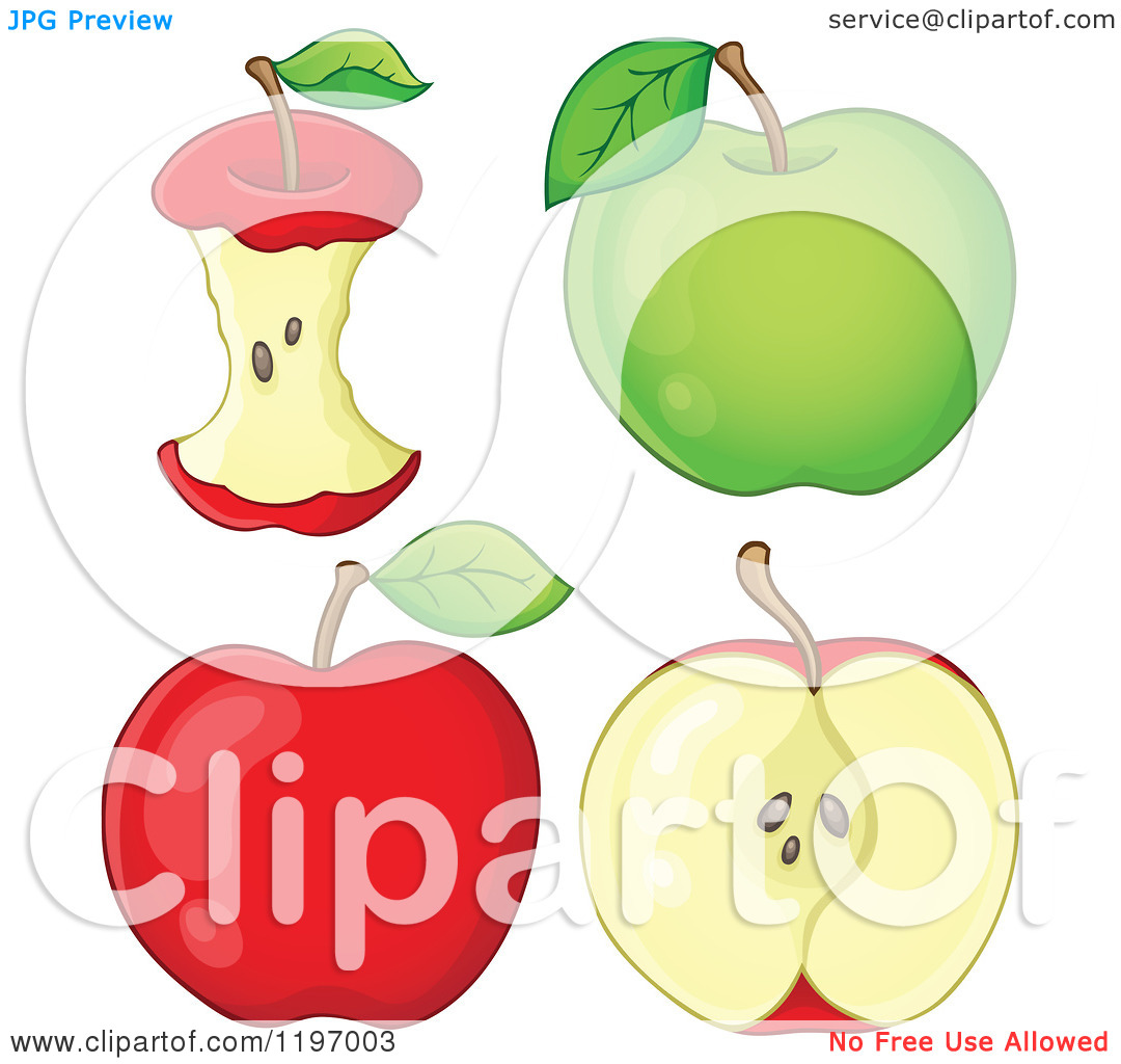 Cartoon of Red and Green Apples and Cores.