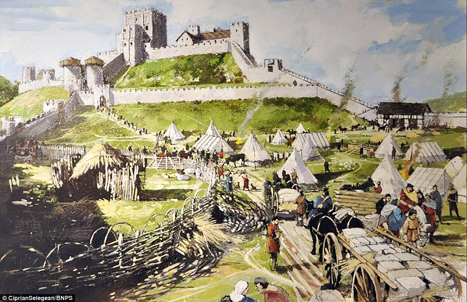 English Civil War damages to Corfe Castle digitally restored after.