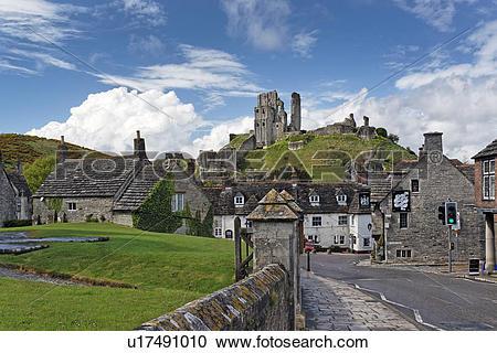 Stock Photography of England, Dorset, Wareham, Corfe Castle.