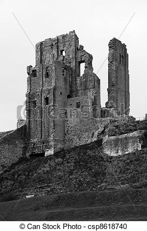 Stock Photography of Black and White Dramatic Corfe Castle Ruin.
