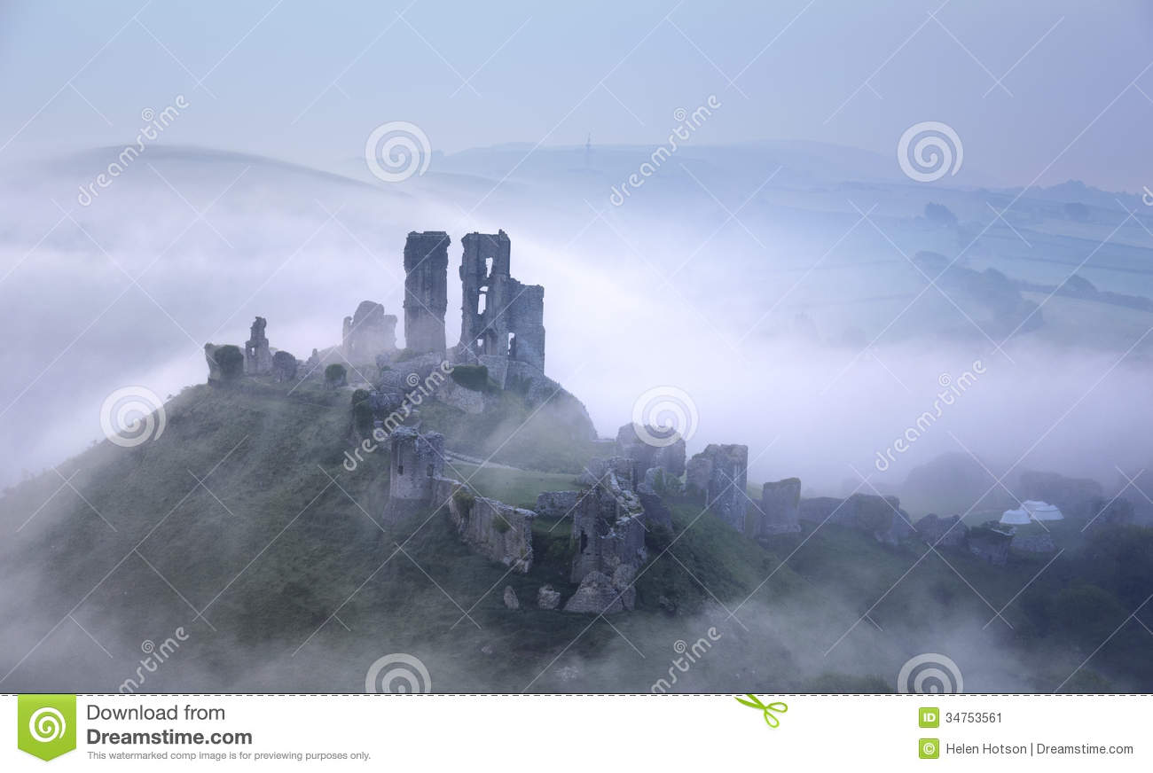 Sunrise At Corfe Castle Stock Image.
