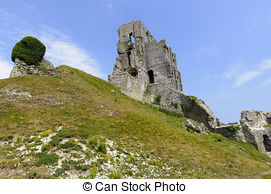 Stock Photography of Ruins of Corfe Castle in Swanage Dorset.