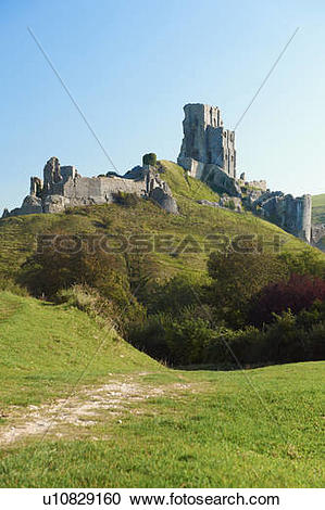 Stock Photography of England, Dorset, Corfe Castle. The ruins of.
