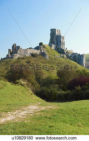 Stock Photography of England, Dorset, Corfe Castle. The ruins of.