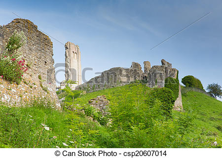 Stock Photography of Side view Corfe Castle Dorset.