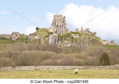 Stock Images of Corfe castle.
