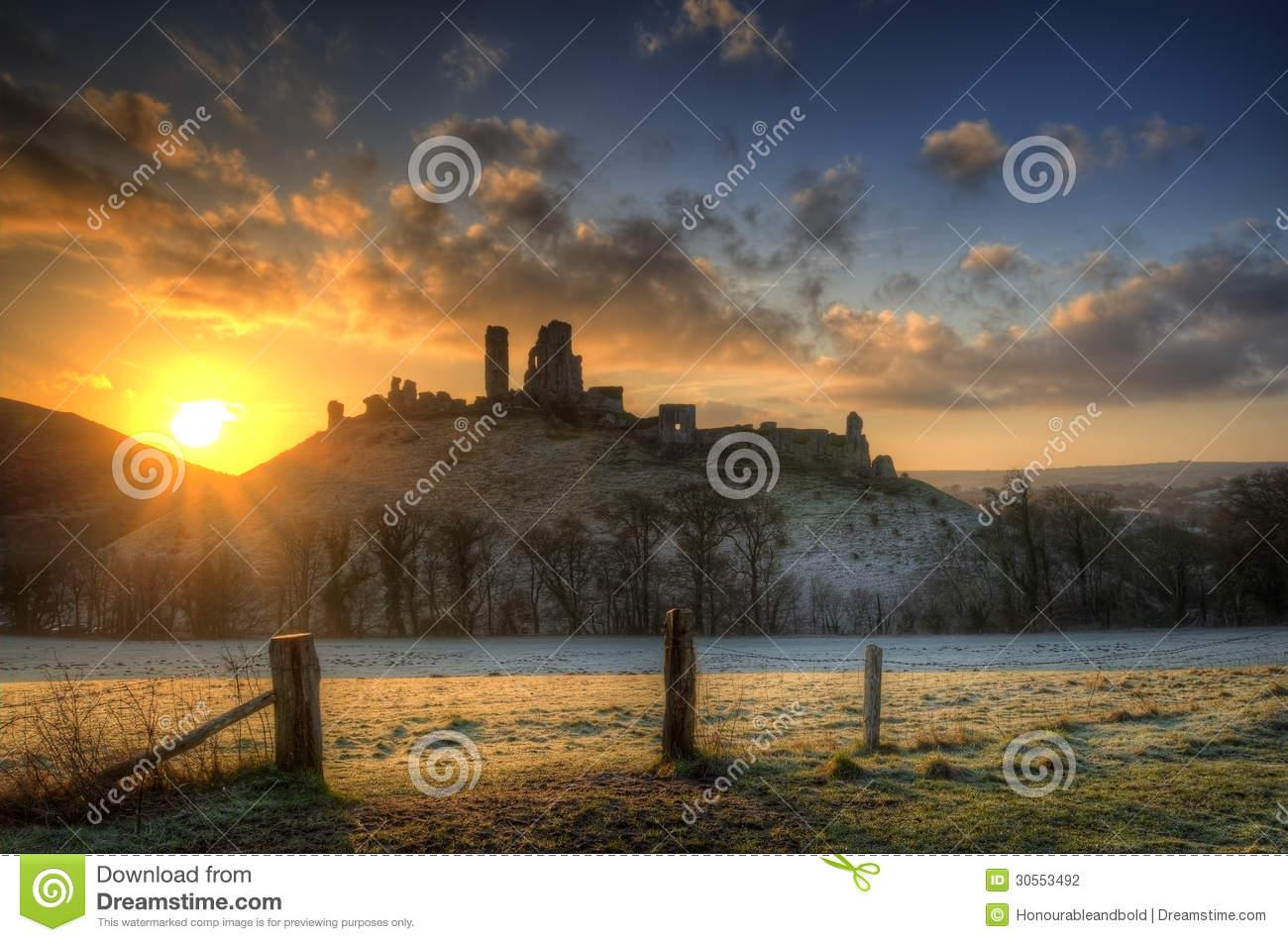 Corfe Castle Winter Sunrise Pre.