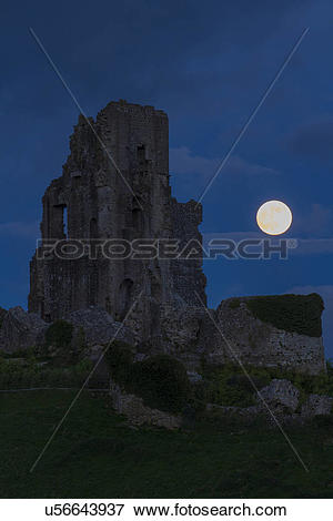 Picture of England, Dorset, Corfe. A view of the Super Moon over.