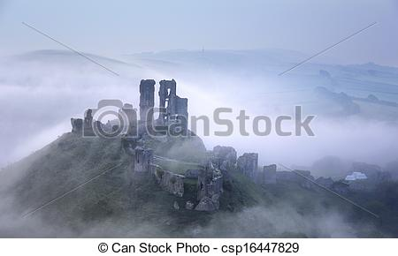 Stock Photo of Foggy Corfe Castle.