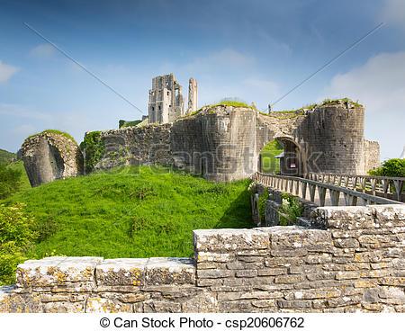 Stock Image of England castle ruins Corfe Dorset.