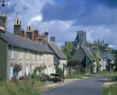 Stock Photography of England, Dorset, Corfe Castle, People walking.