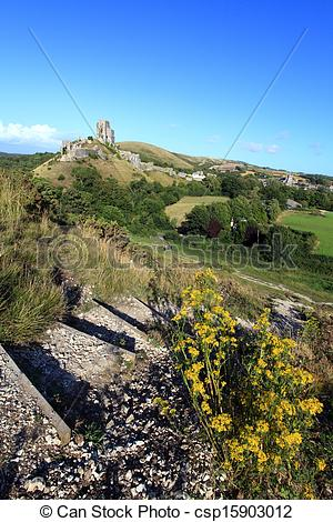 Stock Photography of Corfe Castle Dorset.