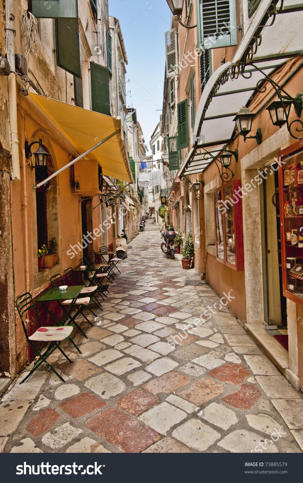 Streets Corfu City Kerkyra Greece Stock Photo 73885579.