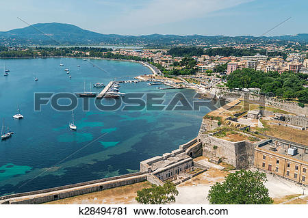 Clipart of Panorama of the Corfu town k28494781.