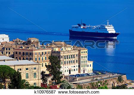 Picture of Enormous cargo ship near Corfu city, Greece k10976587.