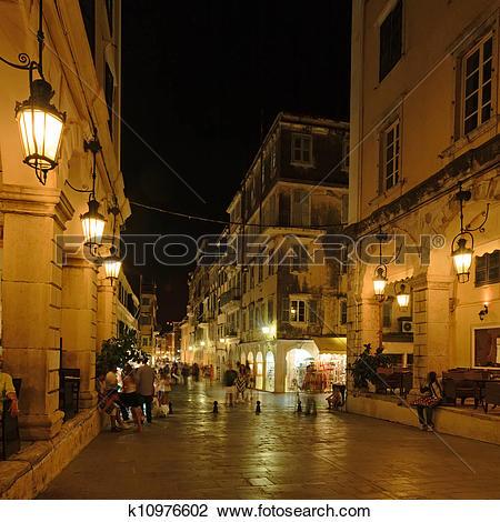 Stock Photo of Liston, main promenade, at night, Corfu city.