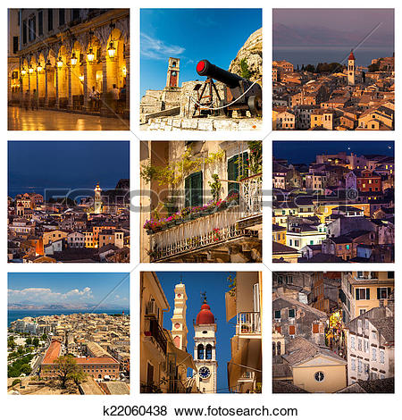 Pictures of Corfu Town Collage k22060438.