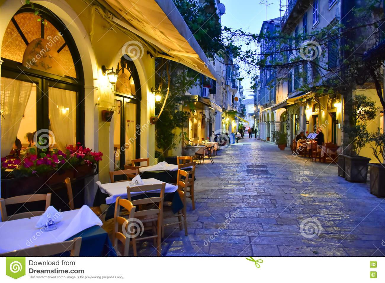 Corfu Town At Night Stock Photo.