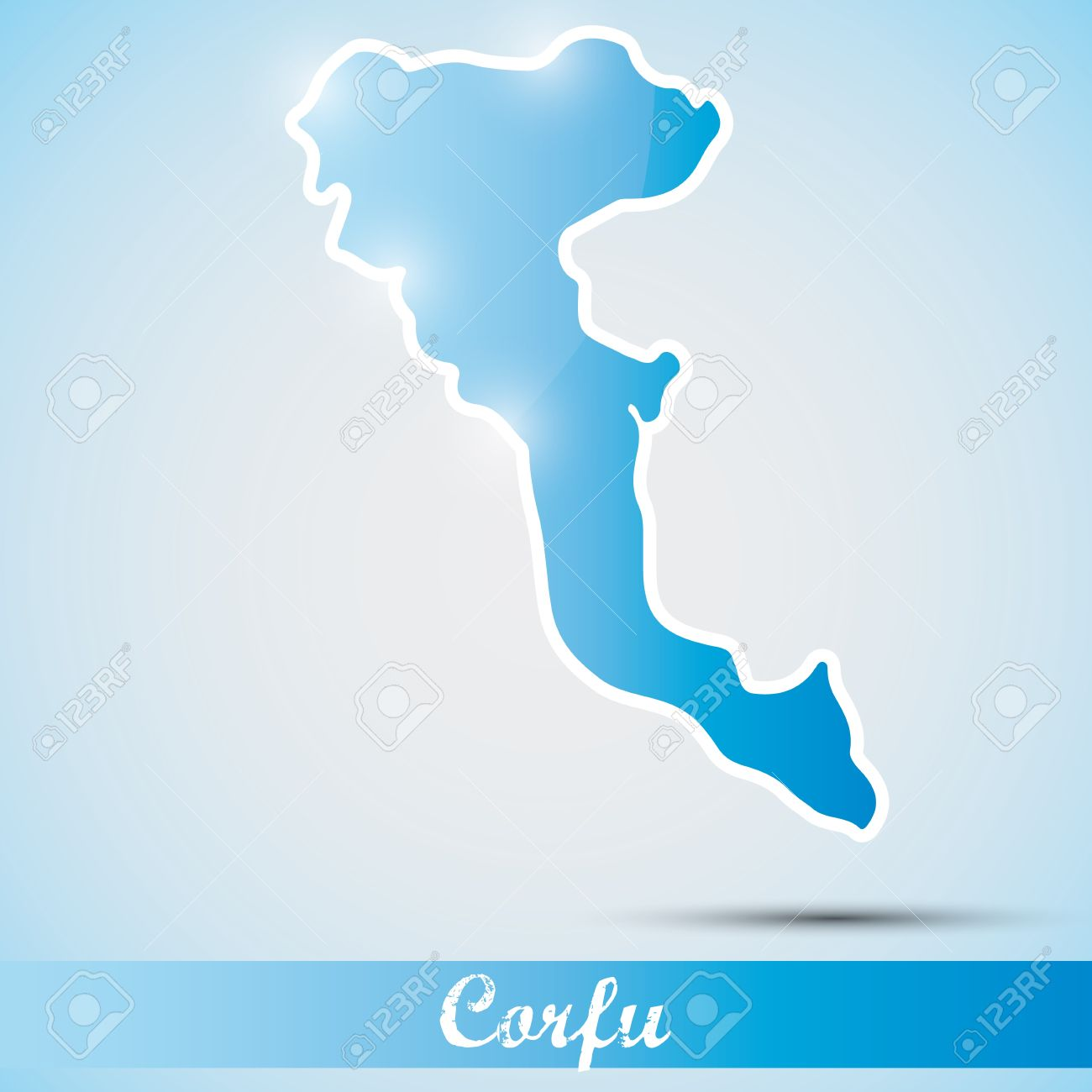 Shiny Icon In Form Of Corfu Island, Greece Royalty Free Cliparts.