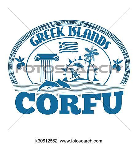 Clipart of Corfu stamp k30512562.
