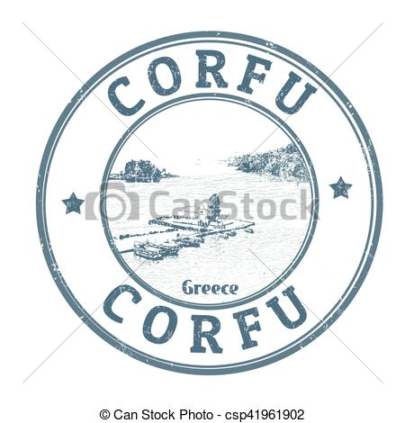Vector Clipart of Corfu sign or stamp.