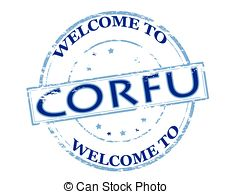 Clip Art Vector of Corfu stamp.