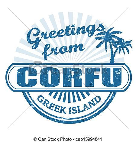 EPS Vector of Corfu greek island, stamp.