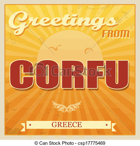 Clip Art Vector of Corfu, Greece touristic poster.