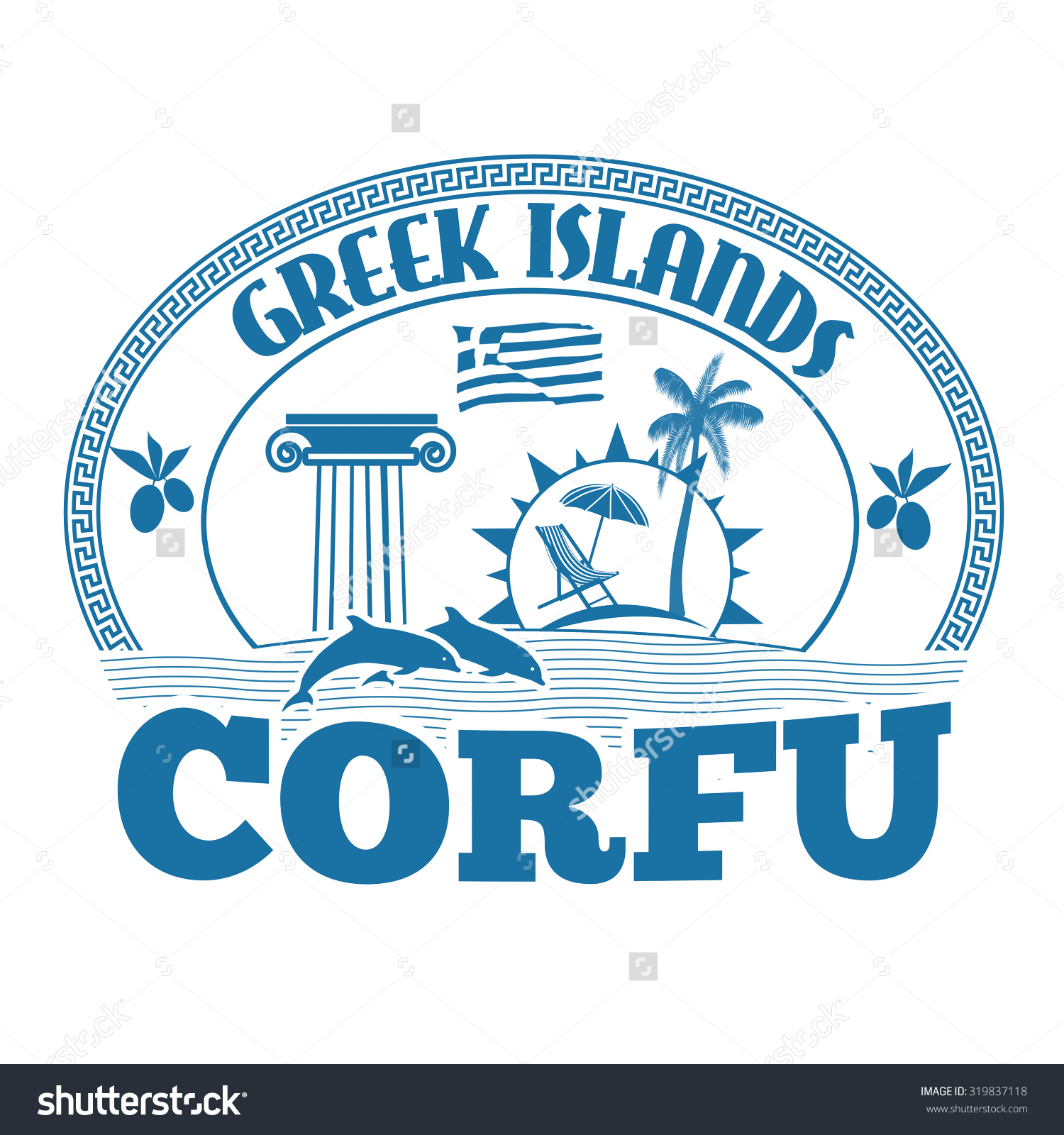 Greek Islands Corfu Stamp Label On Stock Vector 319837118.