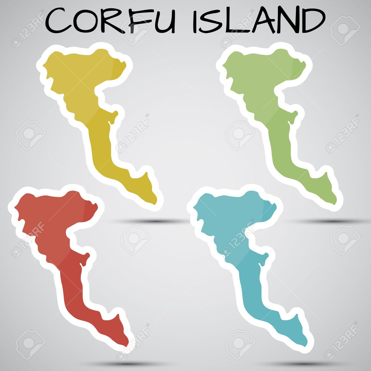 Stickers In Form Of Corfu Island, Greece Royalty Free Cliparts.