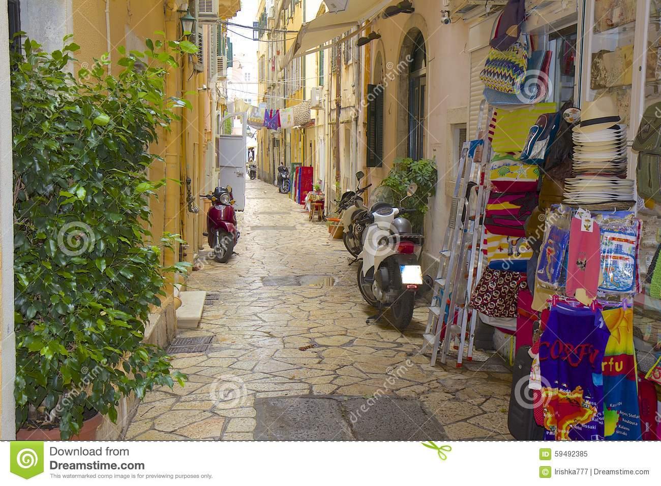 Streets Of Corfu Town Panorama, Corfu Greece Editorial Image.