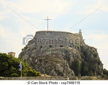 Pictures of Old Byzantine fortress of Corfu town, Greece.