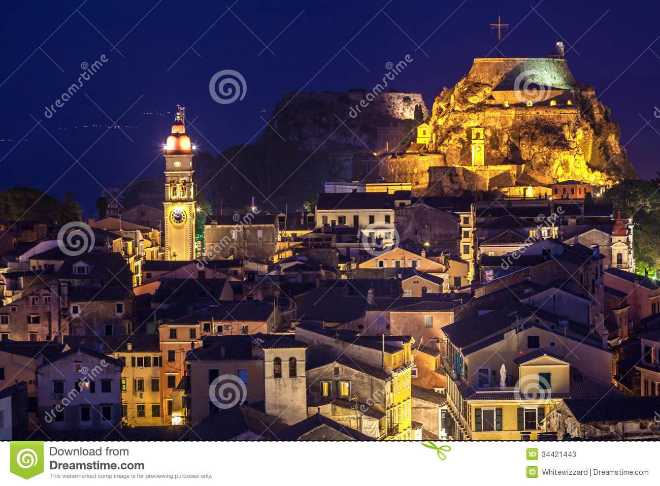 Panoramic View Of The Citylights Of Corfu Town At Night Stock.