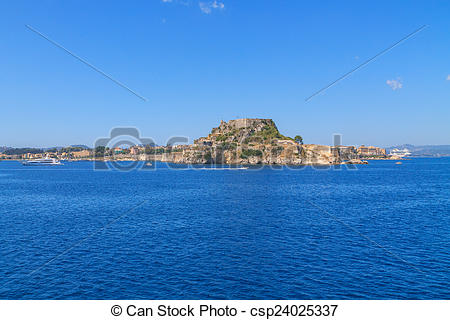 Stock Photos of Cosy buildings in Corfu Town, Greece csp24025337.