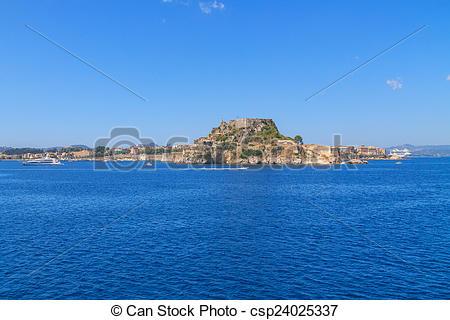 Stock Photos of Cosy buildings in Corfu Town, Greece csp24025337.