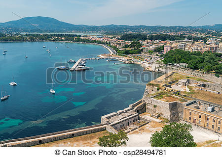 Stock Illustration of Panorama of the Corfu town.
